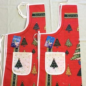 2 Charming Christmas Trees design Aprons Red